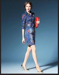 long sleeve denim dresses women 2016 blue casual jeans dresses