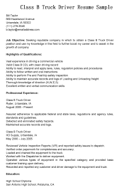 Driver Resumes Class B Truck Resume Sample Position