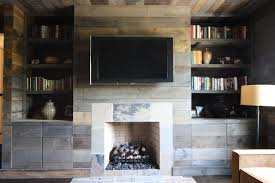 Rustic Built In Bookshelves Living Room With Bookcase