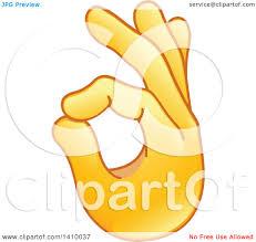 Clipart Of A Hand Emoji Gesturing Ok