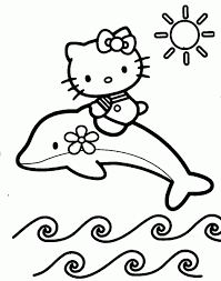Hello Kitty And Dolphin Coloring Pages