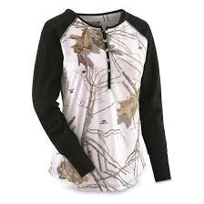 guide gear women u0027s camo henley shirt 648880 shirts u0026 tops at