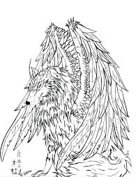 Dragon Winged Wolf Coloring Pages Pics Pack For Adults Puppy Full Size