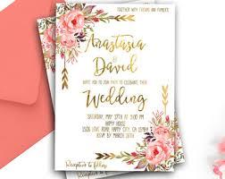 Romantic Spring Wedding Invitation Printable Gold Blush Pink Floral Suite Coral