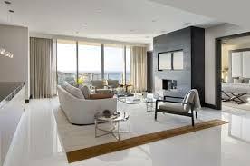 Living Room Tiles White Floor An Elegant Carpet Curtains