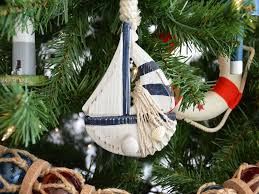 Wooden Rustic Blue Sailboat Model Christmas Tree Ornament