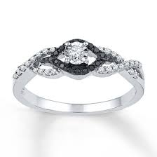 Kay Jewelers Black White Diamonds 1 5 Ct Tw Promise Ring Sterling Silver Rings