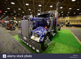 A Classic Painted Kenworth W900 Sem Truck Is Displayed At The 2018 ...