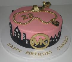 Wilton Decorator Preferred Fondant Michaels by Pink And Black Birthday Cake For A Lady That Loves Michael Kors