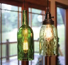 750ml Wine Bottle Pendant Light And Open Bottom Quart Mason Jar