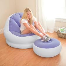 intex 68572 aufblasbarer sitzsack luftsessel mit fußhocker für wohnzimmer