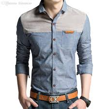 Online Cheap Wholesale Big Size M 4xl Men Fashion Shirts 2015 New Korean Vintage Style Clothing Denim Patchwork Design Man Casual Dress By Feiyancao