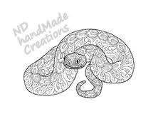 Paisley Doodle Snake Reptile N1 Animal Pattern Printable Coloring Book Sheet Adults Children PDF JPG Download
