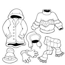 Winter Clothes Coloring Page Detail Printable Working Sheet Pages To Print