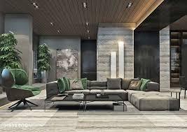deko wohnzimmer modern graues zimmer mit grünen