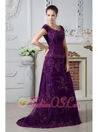 Eggplant Purple A Line Scoop Appliques And Beading Mother Of The Bride Dress Brush Train