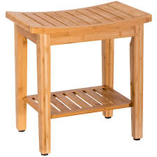 Costway 18 Bamboo Shower Seat Bench Bathroom Spa Bath Organizer