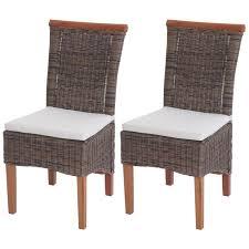 2x esszimmerstuhl savona stuhl küchenstuhl rattan mit sitzkissen