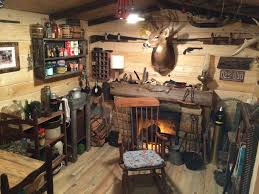 InteriorRustic Small Man Cave Ideas Classic Fireplace Retro Wooden Chair Wall Vintage