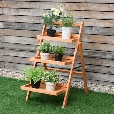 Details About 3 Tier Outdoor Wood Flower Folding Pot Shelf Stand Plant Rack Indoor Outdoor New