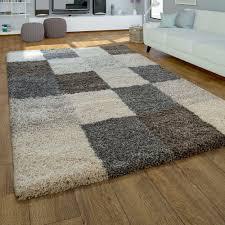 moderner hochflor teppich kariert grau beige