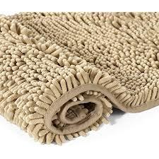 h versailtex weiche struppige rutschfeste absorbierende badezimmermatte chenille badezimmer tuch flor teppich badteppich taupe 50 80cm
