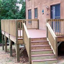 Replaced Existing Deck With New Composite Decking Railing Treated Wood