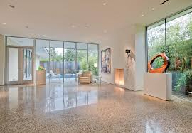 Terrazzo Floor Living Room Modern With White Leather Chair