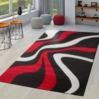 teppich rot schwarz weiß wohnzimmer teppiche modern mit konturenschnitt größe 120x170 cm