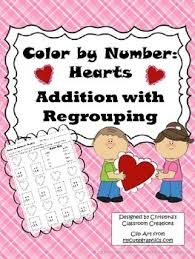 Hearts Addition With Regrouping Color By Number