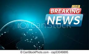 Breaking News Live Abstract Futuristic Background With A Glowing Blue Planet Earth Technology And