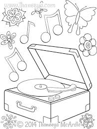 Hipster Coloring Book Record Player By Thaneeya
