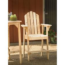 Webbed Lawn Chairs With Wooden Arms by Amazon Com Tall Unfinished Fir Wood Adirondack Chair Bar