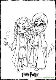 Printable Coloring Pages Harry Potter Cartoon Cute