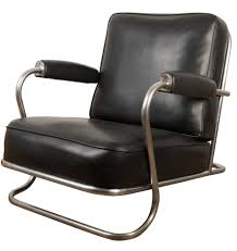 Tubular Chrome And Black Vinyl Lounge Chair C1950 | Streamline ...