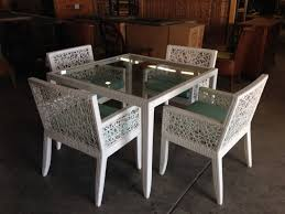 White Wicker Dining Table And Chairs Kitchen Chairs Linen ...
