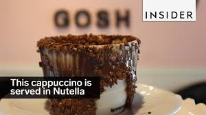 cuisine cappuccino this cappuccino is served in nutella and chocolate
