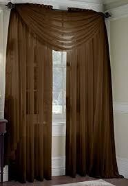 amazon com 2 piece solid coffee brown sheer window curtains drape