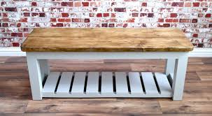 Rustic Hall Bench Shoe Storage Made From Reclaimed Wood