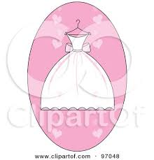 White And Pink Wedding Dress A Hanger Over A Pink Heart Oval