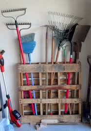 Garage Storage Need A Place For All The Rakes And Shovels In Your Pallet Is Perfect Solution No Additional Work Needed