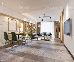 3d rendering moderne esszimmer und wohnzimmer mit luxusausstattung stockfoto und mehr bilder architektur