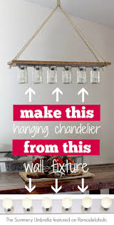DIY Rustic Mason Jar And Wood Hanging Chandelier