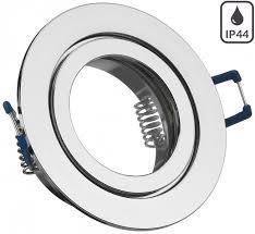 ip44 aluminium einbaustrahler chrom rund badezimmer feuchtraum geeignet nicht schwenkbar
