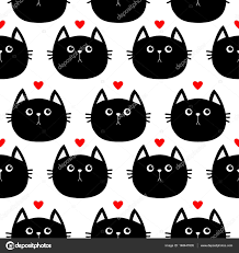 Black cat head seamless pattern — Stock Vector © worldofvector