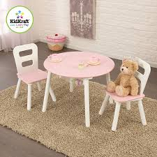 Kidkraft Star Childrens Table Chair Set by Amazon Com Kidkraft Round Table And 2 Chair Set White Pink Toys