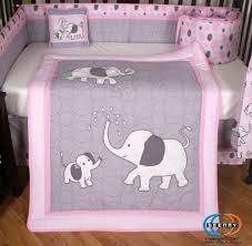 Pink and Gray Elephant 13 Piece Crib Bedding Set