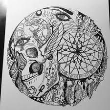 Detailing The Circle Art Illustration Drawing Skull Dreamcatcher Abstract