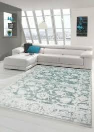 details zu vintage teppich modern wohnzimmerteppich designteppich mit fransen türkis grün
