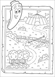 Dora The Explorer And Little Star Map Coloring Page
